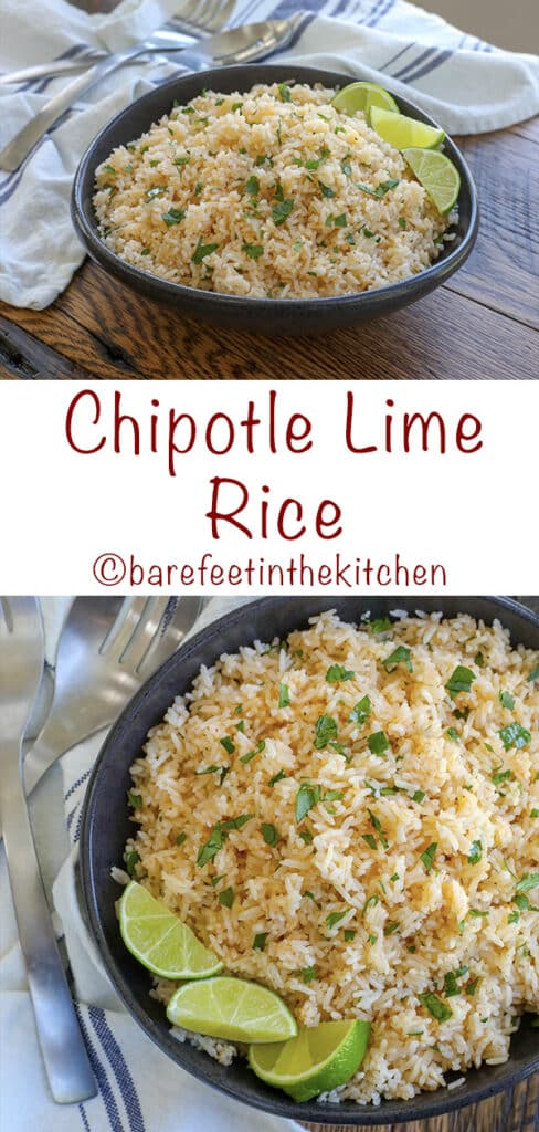 Chipotle Lime Rice is a quick and easy way to wake up your rice side dish! - get the recipe at barefeetinthekitchen.com