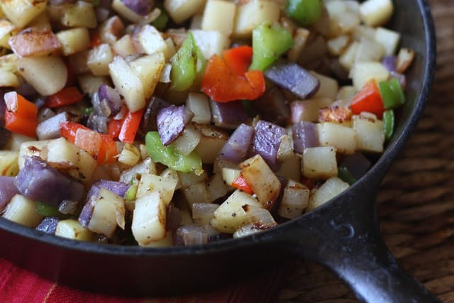 Skillet Potatoes with Peppers and Onions recipe by Barefeet In The Kitchen