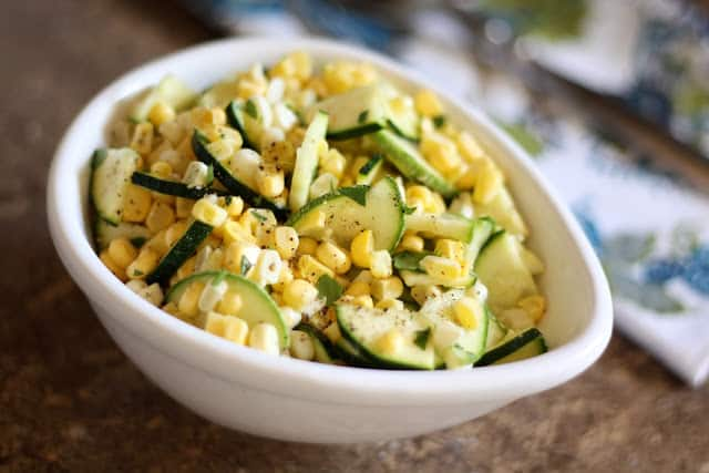 Raw Corn and Zucchini Salad with Lime Vinaigrette recipe by Barefeet In The Kitchen