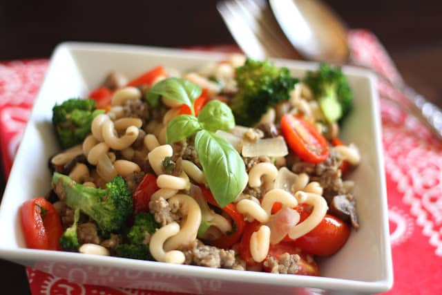 Spicy Sausage, Vegetable and White Bean Skillet with Pasta recipe by Barefeet In The Kitchen