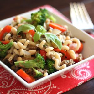 Spicy Sausage, Vegetable and White Bean Skillet with Pasta