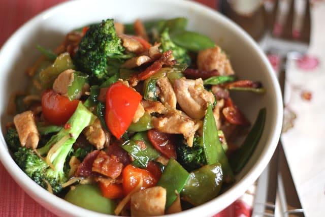 Spicy Chinese Vegetable Stir Fry With Chicken Barefeetinthekitchen