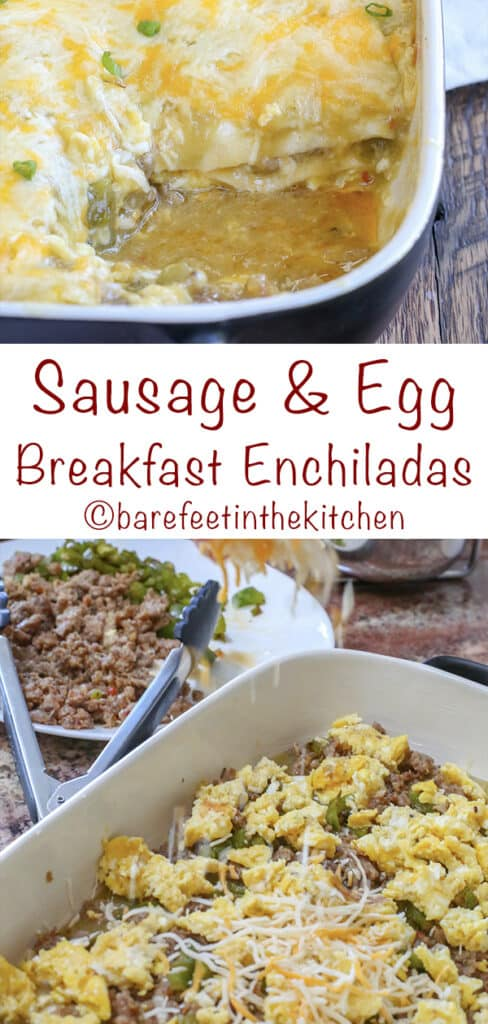 Scrambled Egg and Sausage Breakfast Enchiladas! get the recipe at barefeetinthekitchen.com