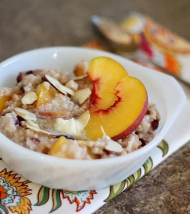 Peach Oatmeal with Cranberries and Almonds