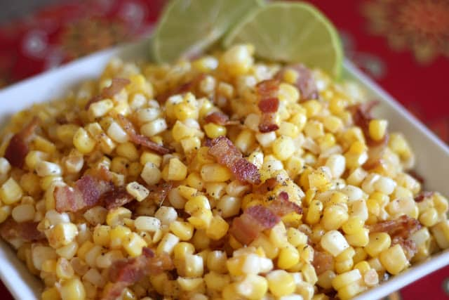 Southwestern Corn Skillet with Chile and Lime recipe by Barefeet In The Kitchen