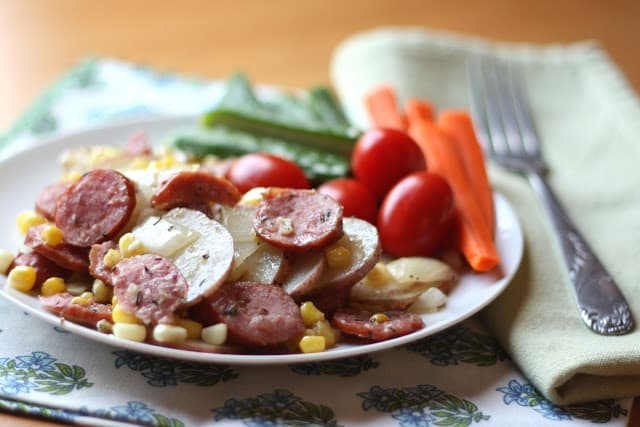 Herbed Potatoes with Kielbasa and Corn recipe by Barefeet In The Kitchen