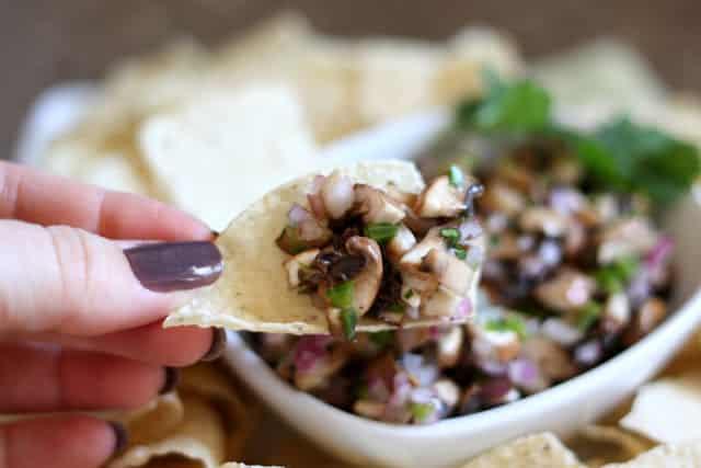 Mushroom Jalapeno Salsa recipe by Barefeet In The Kitchen