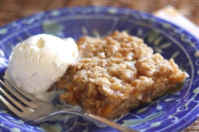 Spiced Peach Oatmeal Crunch - Gluten Free or Not recipe by Barefeet In The Kitchen