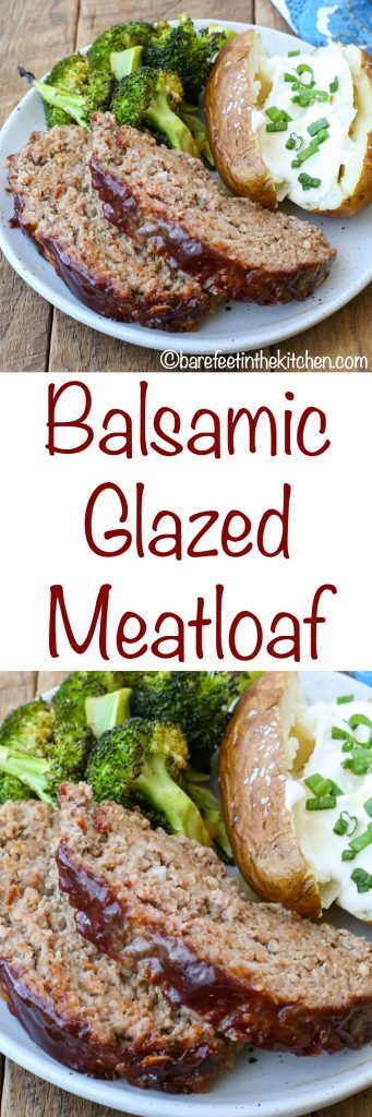 Balsamic Glazed Meatloaf is a dinner time game changer! Get the recipe at barefeetinthekitchen.com