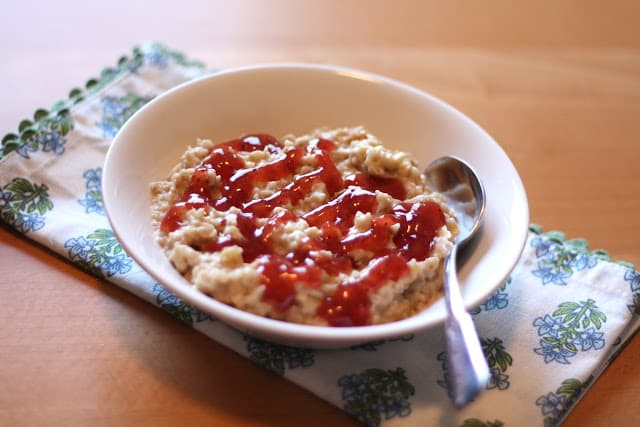 Peanut Butter and Jelly Oatmeal recipe by Barefeet In The Kitchen