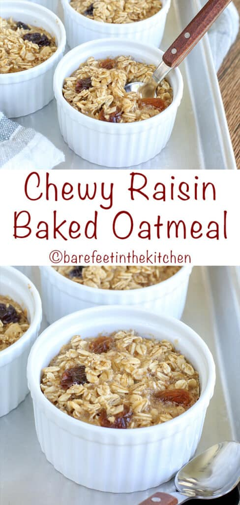 Chewy Raisin Baked Oatmeal - get the recipe at barefeetinthekitchen.com