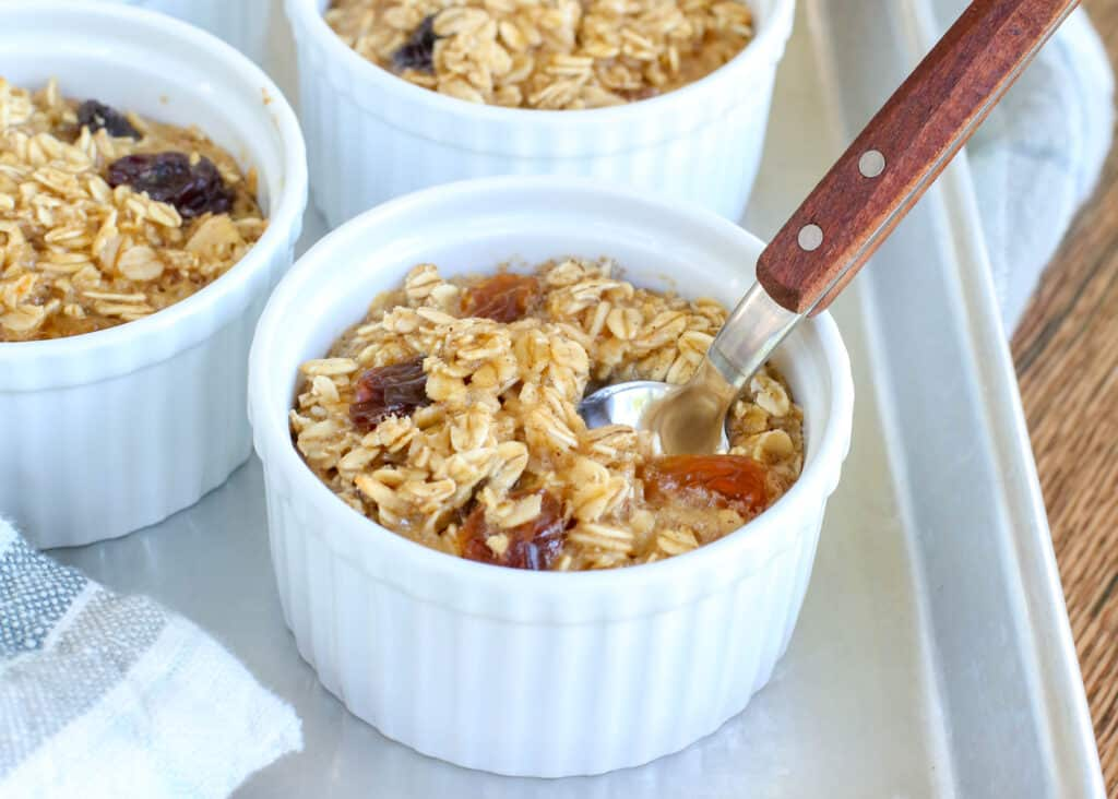 Chewy Raisin Baked Oatmeal Cups - get the recipe at barefeetinthekitchen.com