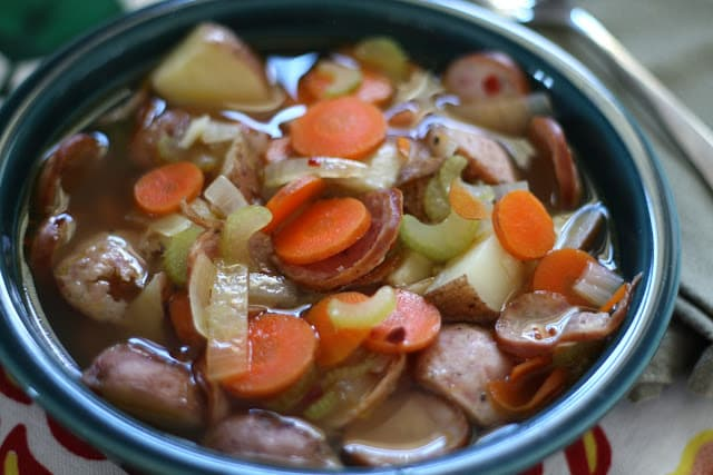Applewood Smoked Sausage Stew with Roasted Potatoes recipe by Barefeet In The Kitchen
