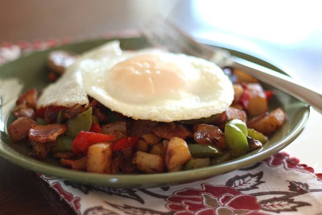 Crispy Onion, Red Potato, Pepper and Mushroom Hash recipe by Barefeet In The Kitchen