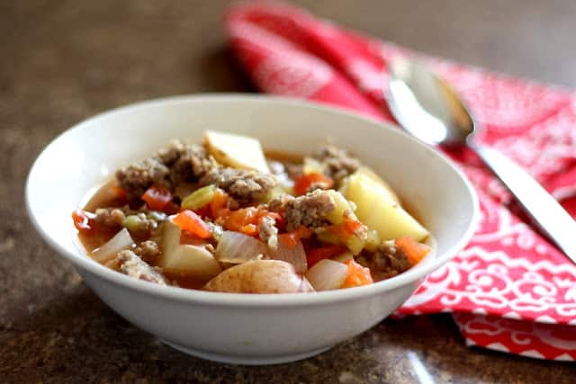 Green Chili Stew with Sausage and Tomatoes recipe by Barefeet In The Kitchen