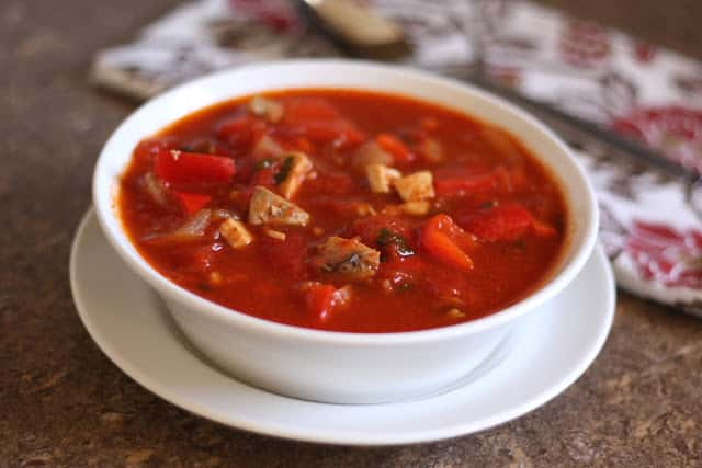 Tomato Chicken Chili recipe by Barefeet In The Kitchen