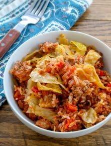 Layered Cabbage Roll Casserole is one of my husband's favorite meals!