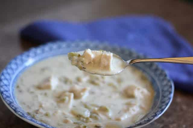Creamy Turkey Green Chile Soup recipe by Barefeet In The Kitchen