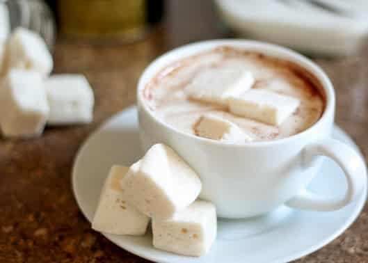 A close up of a plate of food and a cup of coffee, with Marshmallow and Sugar