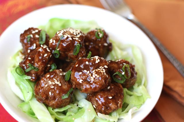 Saucy Asian Meatballs recipe by Barefeet In The Kitchen