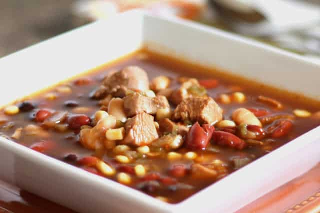 Spicy Southwest Turkey and Four Bean Soup recipe by Barefeet In The Kitchen