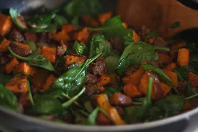 Breakfast Sausage Skillet with Sweet Potatoes recipe by Barefeet In The Kitchen