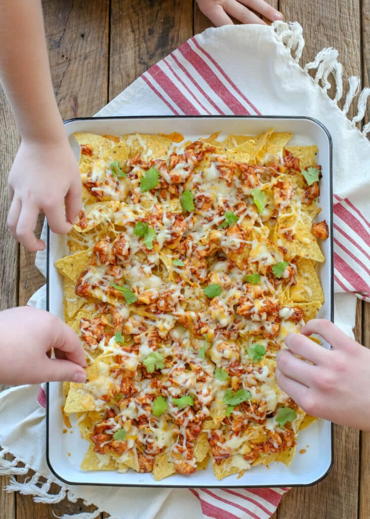 BBQ Chicken Nachos disappear almost as fast as you can make them!