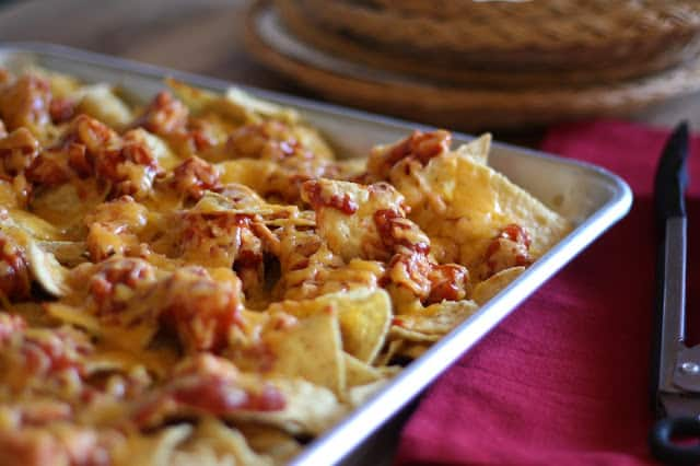 BBQ Chicken and Cheese Nachos recipe by Barefeet In The Kitchen