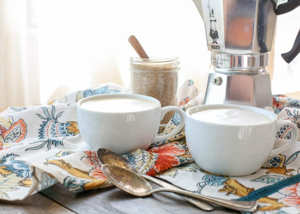 Learn how to make Cafe con Leche at home! get the instructions at barefeetinthekitchen.com