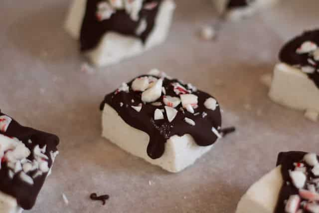 Chocolate Covered Candy Cane Marshmallows recipe by Barefeet In The Kitchen