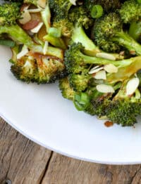 Sriracha Honey Roasted Broccoli - get the recipe at barefeetinthekitchen.com