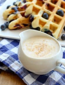 Grandma's Waffle Sauce is like nothing else you've ever tasted. It's a must have for waffles and pancakes! get the recipe at barefeetinthekitchen.com