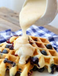Pour Waffle Sauce over waffles or pancakes for an AMAZING breakfast treat!