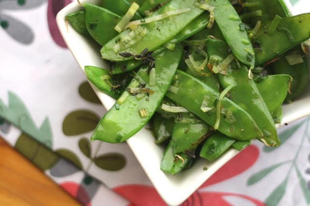 Herbed Snow Peas with Leeks recipe by Barefeet In The Kitchen