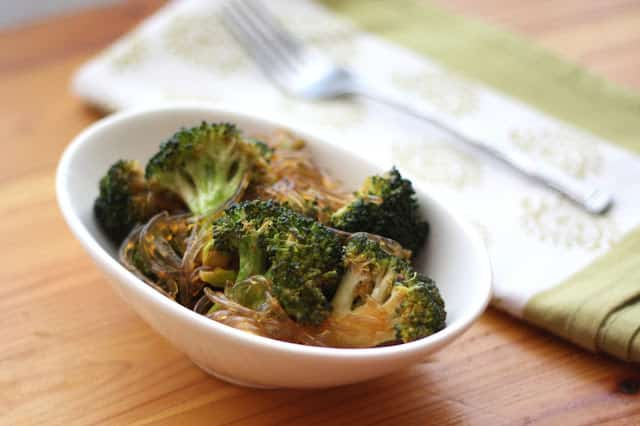 Glass Noodles with Sriracha Honey Broccoli recipe by Barefeet In The Kitchen