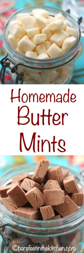 Homemade Butter Mints are tastier than any store-bought mint and they're EASY to make too! get the recipe at barefeetinthekitchen.com
