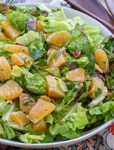 Orange Parsley Salad with White Balsamic Vinaigrette - get the recipe at barefeetinthekitchen.com