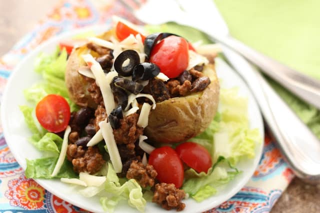 Beef and Black Bean Stuffed Baked Potatoes recipe by Barefeet In The Kitchen