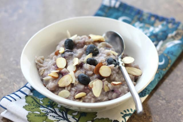 Blueberries and Cream Almond Oatmeal recipe by Barefeet In The Kitchen
