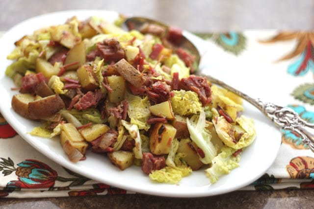 Corned Beef, Cabbage and Red Potato Hash recipe by Barefeet In The Kitchen