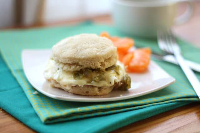 Pepperjack Green Chile Breakfast Sandwiches recipe by Barefeet In The Kitchen
