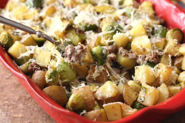 Roasted Potatoes with Brussels Sprouts and Sausage recipe by Barefeet In The Kitchen