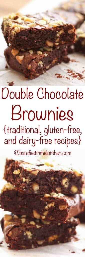 Double Chocolate Brownies (traditional, gluten free, and dairy free recipes included)