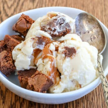 Caramel Brownie Ice Cream with spoon