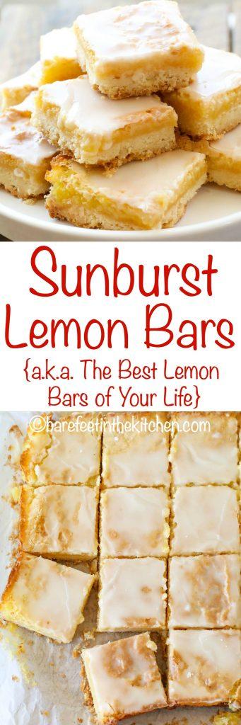 Sunburst Lemon Bars are a lemon lover's dream come true! get the recipe at barefeetinthekitchen.com