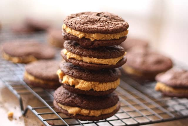 Chocolate Peanut Butter Sandwich Cookies recipe by Barefeet In The Kitchen