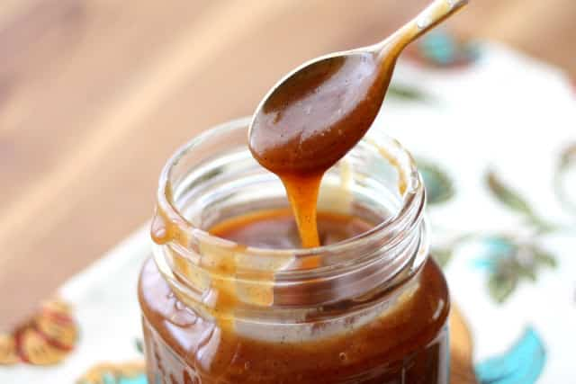 Vanilla Bean Salted Caramel Sauce | barefeetinthekitchen.com