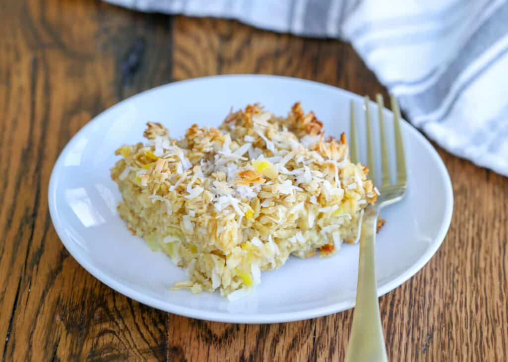 Baked oatmeal with pineapple and coconut is a kid and adult favorite.