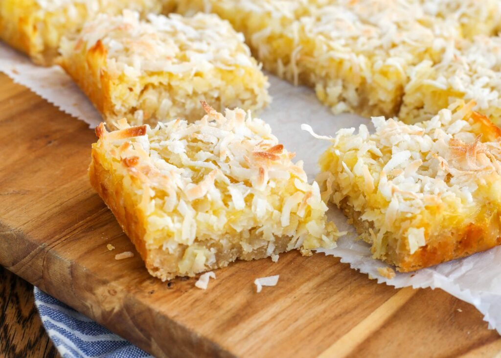 Chewy, sweet, Pineapple Coconut Bars are a hit with everyone!