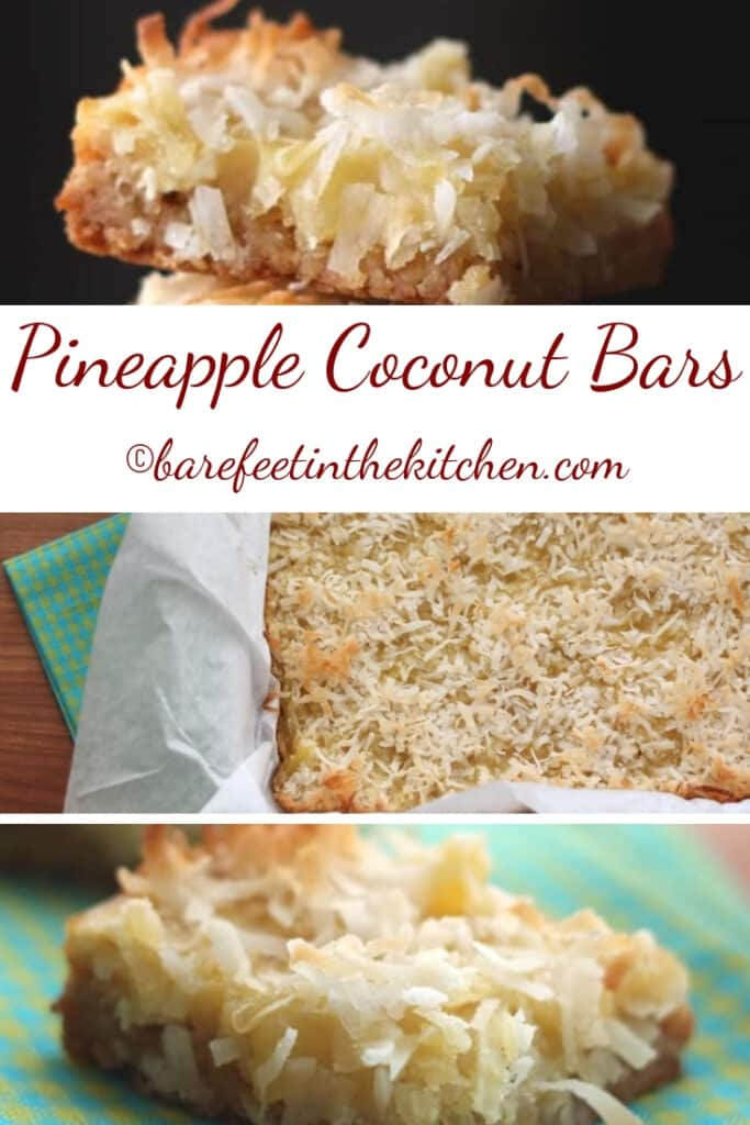 Pineapple Coconut Bars are irresistible! get the recipe at barefeetinthekitchen.com